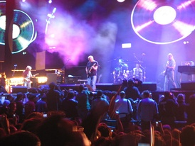 Pink Floyd performing at Live 8 in Hyde Park, 2 July 2005, their last of several gigs at the park over their career