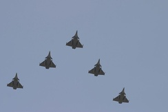 Formation of five Rafales making a flypast in 2006
