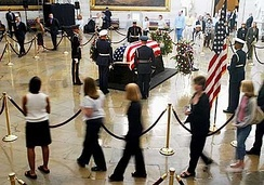 The body of former President Ronald Reagan lying in state in 2004
