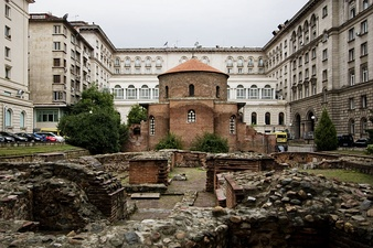 The 4th century St. George Rotunda (the oldest building) behind some remains of Serdica