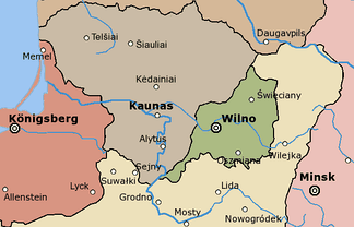 Map of the Republic of Central Lithuania (in green)