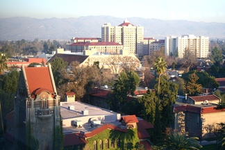 Aerial view of San Jose State campus.