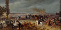 King Wilhelm I on a black horse with his suite, Bismarck, Moltke, and others, watching the Battle of Königgrätz