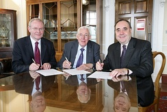 Alex Salmond (right) meets Ian Paisley (centre) and Martin McGuinness in 2008.