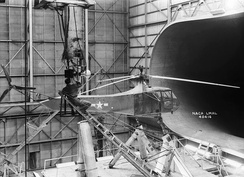 In this image taken in 1944, one of Langley Research Center's Sikorsky YR-4B/HNS-1 helicopters is seen in the 30 × 60 full-scale tunnel.