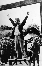 "Yugoslav Partisan fighter Stjepan ""Stevo"" Filipović shouting ""Smrt fašizmu sloboda narodu!"" (""Death to fascism, freedom to the people!"") (the Partisan slogan) seconds before plunging to his death."