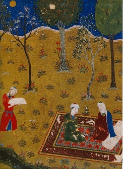 The poet Sa'di converses by night with a young friend in a garden. Miniature from Golestan. Herat, 1427. Chester Beatty Library, Dublin; workshops of Baysunghur.