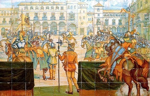 'A jousting tournament in the main square of Valladolid', ceiling preserved in Madrid's Museo del Prado.