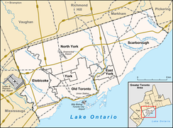 Map of Toronto with major traffic routes. Also shown are the boundaries of six former municipalities, which form the current City of Toronto