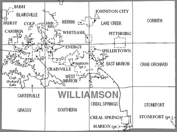 Map of Williamson County, Illinois