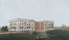 The unfinished United States Capitol was set ablaze by the British on August 24, 1814.