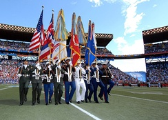 A joint service color guard parades the colors at mid-field during the 2007 Pro Bowl game