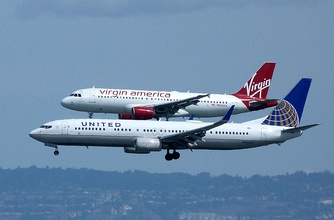The Boeing 737 (United, foreground) and the Airbus A320 (Virgin, background) are the most widespread airliners