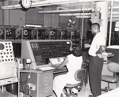 Census Bureau employees tabulate data using one of the agency's UNIVAC computers, ca. 1960.