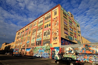 Front and side of 5 Pointz