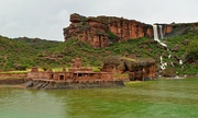 Bhutanatha temple complex at Badami, next to a waterfall, during the monsoon.