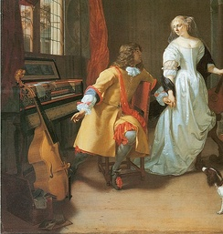 Detail from a painting by Jan Verkolje, Dutch, c. 1674, Elegant Couple (A Musical Interlude). The theme is similar to the classic Music Lesson genre, and features a bass viol, virginal, and cittern (in the woman's hand, out of frame in this detail; see full image). This image highlights the domestic amateur class of viol players.