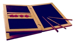 Reconstruction of a writing tablet: the stylus was used to inscribe letters into the wax surface for drafts, casual letterwriting, and schoolwork, while texts meant to be permanent were copied onto papyrus.