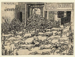 The Sack of Antwerp in 1576, in which about 7,000 people died.