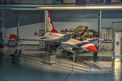 F-16A on display at the Museum of Aviation, Robins AFB; was flown by the Thunderbirds between 1982 - 1992.