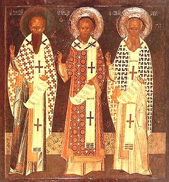 A Byzantine-style icon depicting the Three Holy Hierarchs: (left to right:) Basil the Great, John Chrysostom and Gregory the Theologian.
