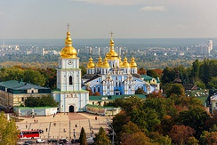 St. Michael's Golden-Domed Cathedral in Kiev, foremost example of Cossack Baroque and one of Ukraine's most recognizable landmarks