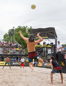 A player jump serving