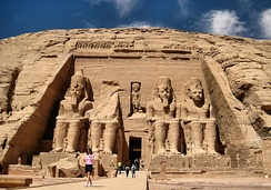 Colossal statues of Ramesses II at Abu Simbel, Egypt, date from around 1400 BC.