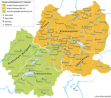 Map of the duchy of Swabia in the tenth and eleventh centuries (Swabia is marked in yellow; the kingdom of Upper Burgundy is green).