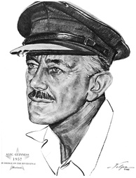 Drawing by Nicholas Volpe after Guinness won an Oscar in 1957 for his role in The Bridge on the River Kwai