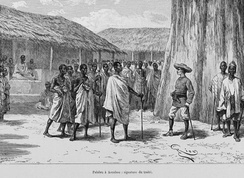 Louis-Gustave Binger of French West Africa in 1892 treaty signing with Famienkro leaders, in present-day N'zi-Comoé Region, Ivory Coast