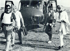 Armed Department of State security agents accompany U.S. Ambassador Deane Hinton in El Salvador in the early 1980s.