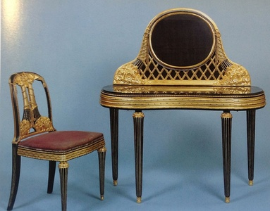 Dressing table and chair of marble and encrusted, lacquered, and glided wood by Paul Follot (1919-1920