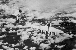 A B-24M of the 448th Bombardment Group, serial number 44-50838, downed by a Messerschmitt Me 262 jet fighter.