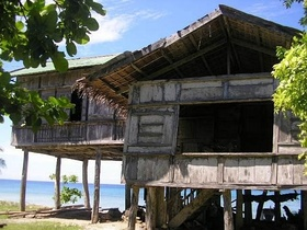 Century old Bahay kubo with high stilts.