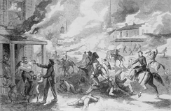 Quantrill's 1863 raid burned the town of Lawrence and killed 164 defenders