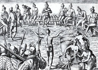 16th-century engraving by Jacques le Moyne of a Timucua ceremony involving the black drink