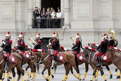 The regimental band of the Presidential Life Guard Dragoons Regiment is the only active mounted band in the Peruvian Armed Forces.