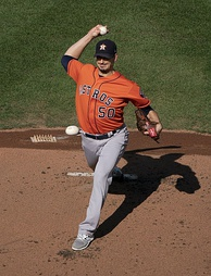 Winning pitcher Charlie Morton, with the 2018 Astros