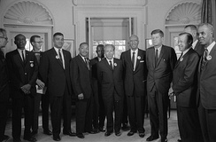 Following the March on Washington for Jobs and Freedom, on August 28, 1963, civil rights leaders meet with President Kennedy and Vice President Johnson to discuss civil rights legislation