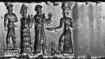 Old Babylonian Cylinder Seal, hematite, The king makes an animal offering to Shamash. This seal was probably made in a workshop at Sippar.[21]