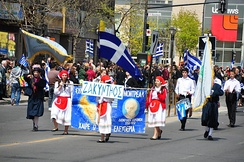 Canadians of Greek ancestry mark the independence of Greece in Montreal's Park Extension neighbourhood.