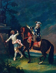 Equestrian portrait of Empress Elizabeth of Russia with a Moor servant