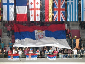Serbian fans in Arena Stožice