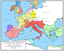 Map showing Europe in 526 AD with the three dominating powers of the west