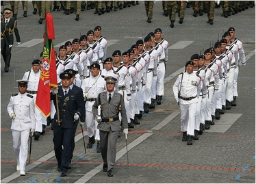 Portuguese tri-service color guard, leading a Fuzileiros detachment
