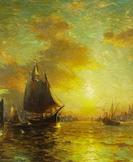 New York Harbor, oil painting by George McCord, 1909