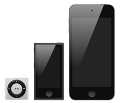 From left to right: iPod Shuffle, iPod Nano, iPod Touch.