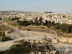The Oval Forum of Jerash (c. 1st century AD), then member of the ten-city Roman league, the Decapolis. Seven out of the ten Decapolis cities are present in modern-day Jordan.