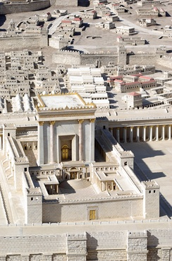Herod's Temple, referred to in John 2:13, as imagined in the Holyland Model of Jerusalem. It is currently situated adjacent to the Shrine of the Book exhibit at the Israel Museum, Jerusalem.